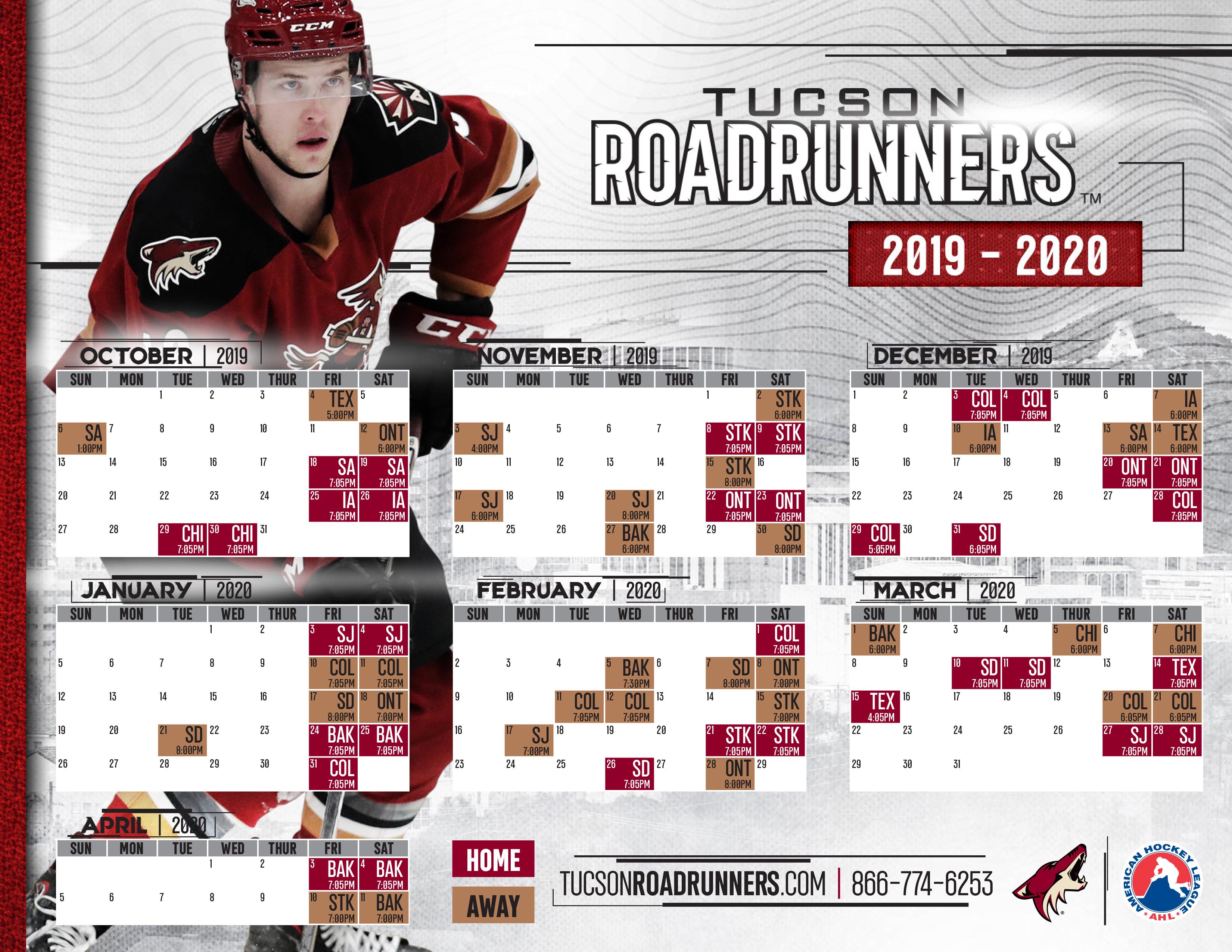 February 2020 Calendar For Green Valley,Az The Official Website of the Tucson Roadrunners: Hockey News