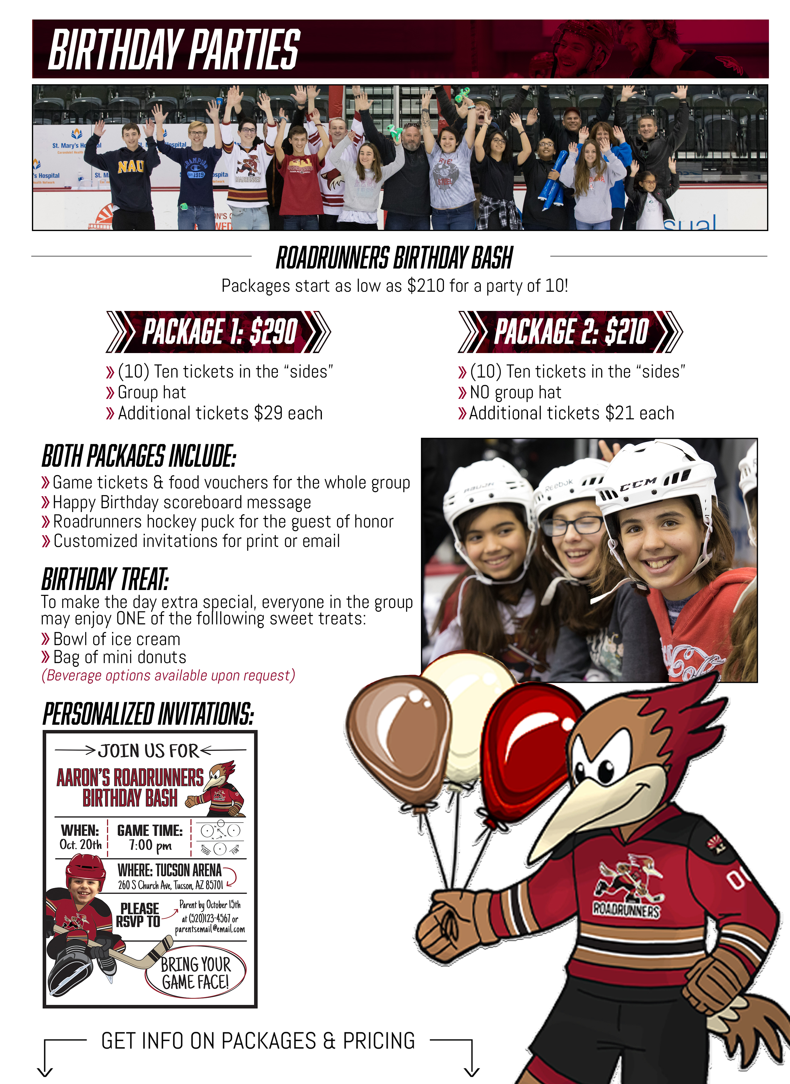 The Official Website of the Tucson Roadrunners: Birthday Parties