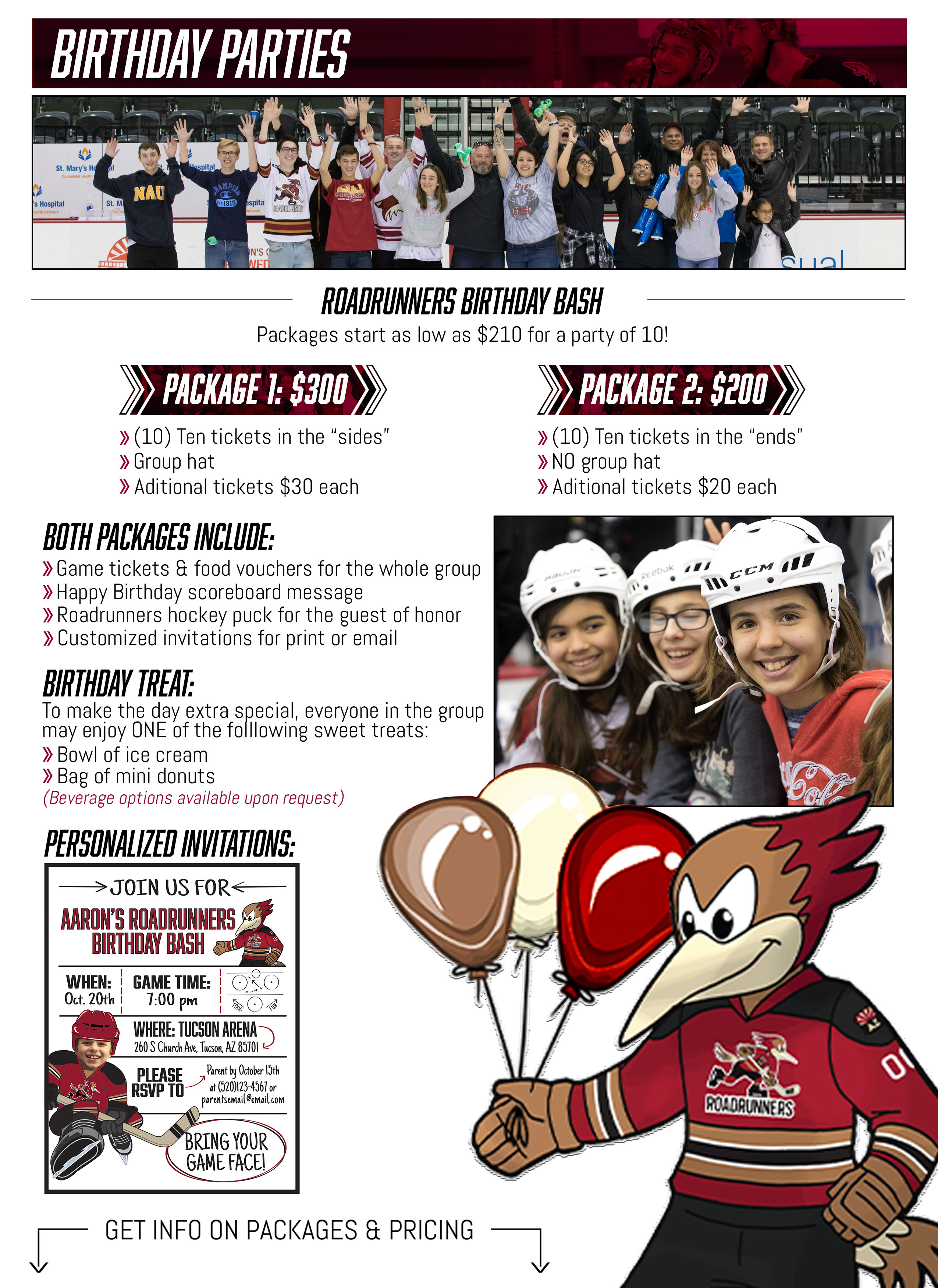 The Official Website Of Tucson Roadrunners Birthday Parties
