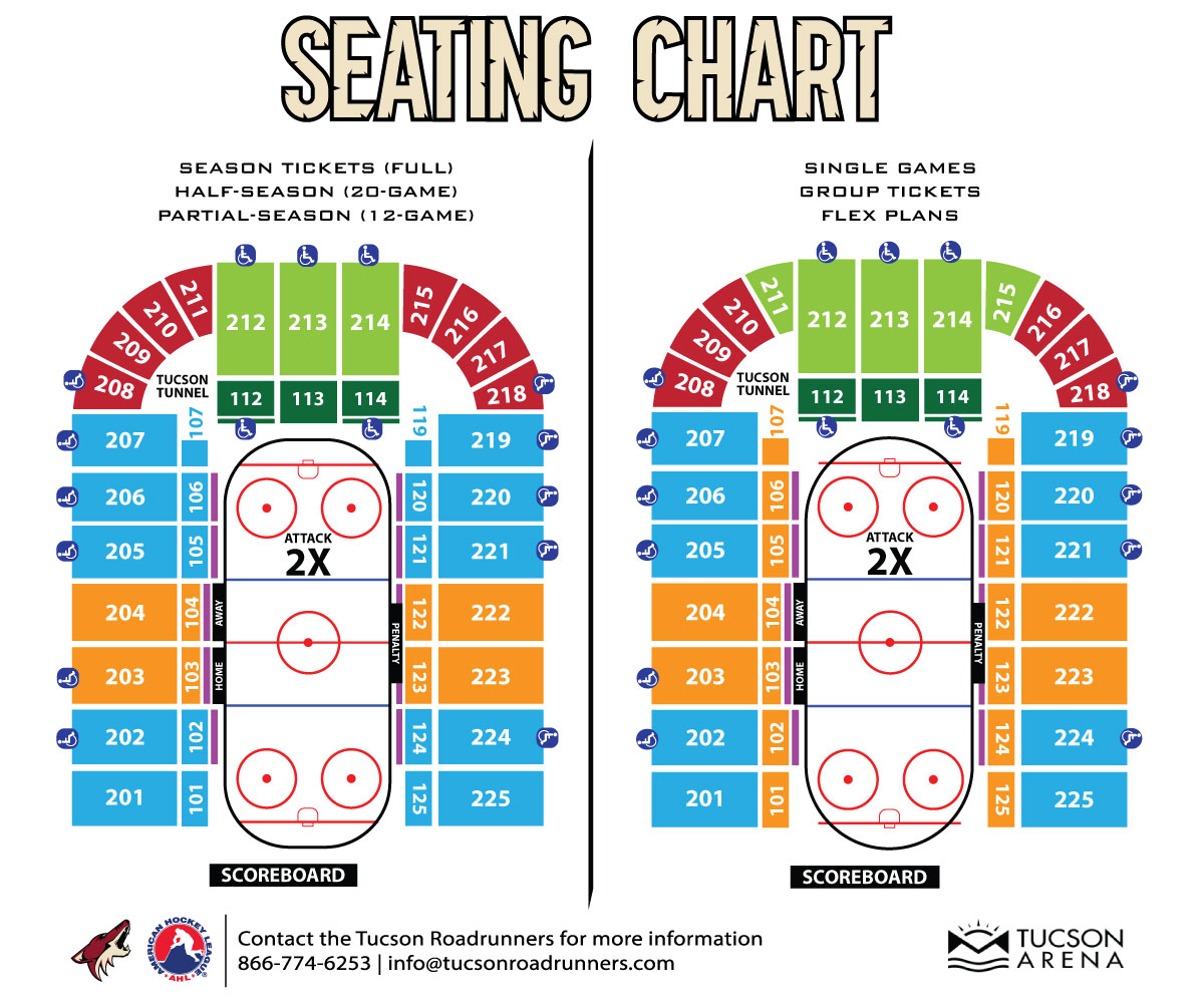 The official website of the tucson roadrunners seating chart